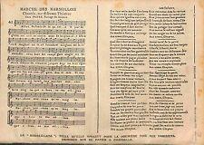 Papier à Chandelle Partition de la Marseillaise Marche des Marseillois 1915 WWI