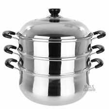 """New listing Steamer Pot 3 Tier Layer 12.5"""" Inches Diameter Stainless Steel Cookware."""