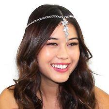Cascading Crystal Tikka Chain Headpiece Grecian Bridal Prom Hair Accessories