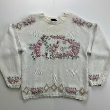 Vintage Hunters Run Hand Knit Sweater Size Medium Floral Pink Roses