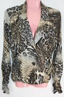 Joseph Ribkoff Jacket Size 10 Animal Print Coat Long Sleeve V Neck Button Career
