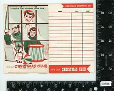 Vintage Christmas card / shopping list advertising booklet -1950's graphics