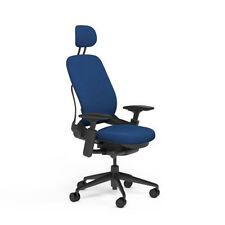 Steelcase Adjustable Leap Desk Chair + Headrest - Blue Buzz2 Fabric Black frame