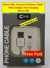USB FAST Charging Cable 1 Meter, Samsung, Xperia, Tablets Micro USB Core Genuine