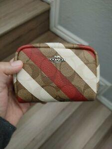NEW W/tags COACH Mini Boxy Cosmetic Case Chalk Diagonal Stripe MSRP $88.00
