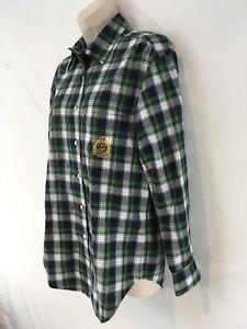 Ralph Lauren Womens 4 Green Plaid Royal Crown Logo Cotton Button Front Shirt