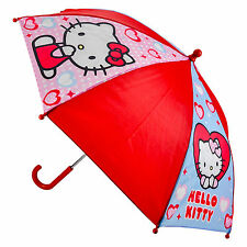 CHILDRENS HELLO KITTY HEARTS UMBRELLA RED 100% OFFICIAL LICENSED ITEM BRAND NEW