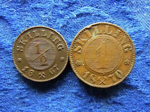 NORWAY 1/2 SKILLING 1867 KM329, 1 SKILLING 1870 edge nicks KM335