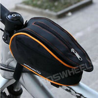 Bike Front Tube Bag Bicycle Cycling Bags Trame Pannier Orange with Rain Cover
