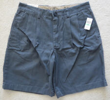New IZOD Blue Saltwater Chinos, Mens Size 34W Shorts 100% Cotton Weathered Twill