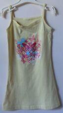 Gelbes schmales Kleid mit schmalen Trägern und buntem Druckmotiv Gr. 92/98