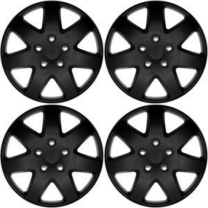 "4 Piece Set of 14"" Matte Black Hub Caps Cover for Steel Wheel Covers Cap"
