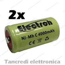 2pz BATTERIA RICARICABILE NI-MH C MEZZA 1/2 TORCIA 1,2V 4Ah 4000 mA mAh 50x25mm