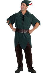 Adult Mens Fairytale Peter Pan Fancy Dress Costume Robin Hood Medieval Costume