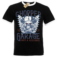 Chopper Garage T-Shirt Biker skull motorcycle Mens RInger