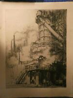 Hermann Kupferschmid Radierung Hochofen 99/200 signiert betitelt 1925 O-2449