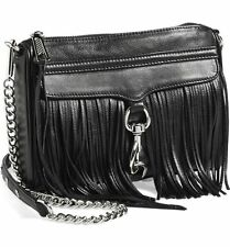 NWT Rebecca Minkoff Mini MAC Fringe Leather Crossbody Bag BLACK Silver Hdw $225