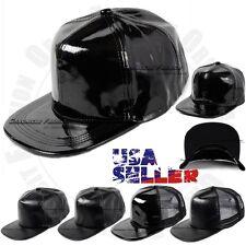 990da0eee1fc36 Baseball Cap Trucker PU Faux Leather Snapback Adjustable Flat Plain Hat Hip  Hop