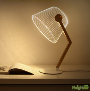 Creative 3D Wooden LED Small Table lamp Desk lights Reading lamp Decorative Gift