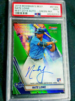 NATE LOWE RC Auto 2019 Bowman GREEN REFRACTOR /99 Rookie Autograph MINT 9 RAYS