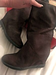 DKNY  BROWN HELEN chocolate LEATHER mid calf  wedge BOOTS SIZE UK RRP £275! NEW!