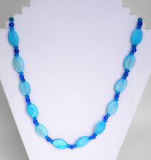 "Blue quartz and shell necklace silver plated clasp Approx. 20"" or 52cm"