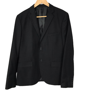 H&M Size 42R Eur 52 Black Two-Button Men's Slim Lined Single Breasted Blazer NEW