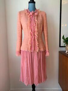 NWT Albert Nipon Boucle Pink Pleated Skirt Suit Tweed Silk Wool Size 8