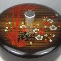 Bowl Lid Japan Plastic Bamboo Floral Faux Wood Grain Vintage 1950 Trinket