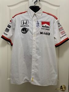 Helio Castroneves 2000 Marboro Race Used Pit Crew Shirt XL Roger Penske Signed