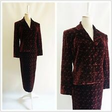 LAURA ASHLEY embroidery silk velvet brown women jacket skirt set Size S Y610319