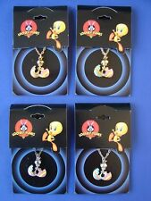 4 PACK 1998 TWEETY BIRD CHARM NECKLACE Warner Bros LOONEY TUNES MOC PARTY FAVORS