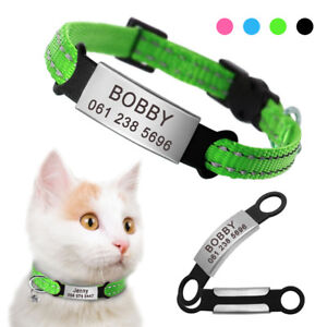 Reflective Cat Breakaway Collar with Bell Engraved Slide-On Cat ID Tag Nameplate