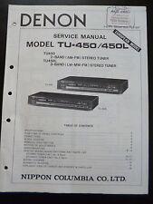 Original Service  Manual Denon Hifi Stereo Tuner TU-450 450L