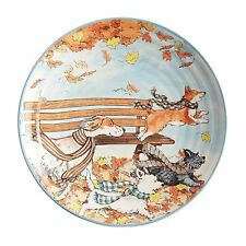 New Pier 1 Park Bench Puppies Dogs Autumn Salad Dessert Appetizer Plates 8""