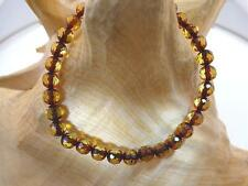 6mm Genuine Baltic Sea Round Faceted Burnt Honey Amber Adjust Bracelet 6 3/4""