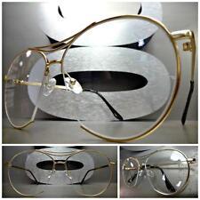 Mens Women CLASSIC VINTAGE RETRO Style Clear Lens EYE GLASSES Gold Fashion Frame