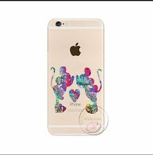 Kissing Mickey & Minnie Rainbow Clear Silicone Gel Case For iPhone 4/4s. Xmas