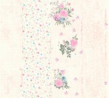Vliestapete grafisch Streifen Blumen Schrift Karo Muster rosa creme grün 35878-1