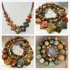 """Natural 6-20mm Picasso Jasper Round & Coin & Square Beads Pendants Necklace 18"""""""