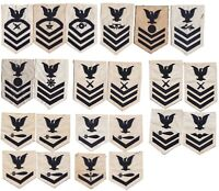1940s WW2 US Navy CPO Petty Officer Arm Patches White Black Ratings Lot of 22