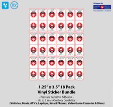 "1.25"" x 3.5"" Warning THC Countour Cut VInyl Sticker Seals (18 Pack)"
