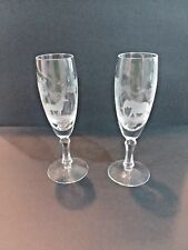 crystal hand blown hand engraved champagne flutes with Kenyan Wildlife