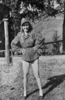 WW2 Picture Photo Sexy German Girl with Uniform 3421