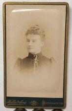 1880's CDV Photograph Lady Short Hair Collar locket By Hellis & Sons London