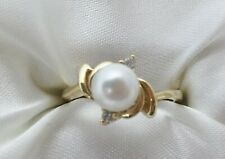 14k Yellow Gold 6.3mm White Pearl & Diamond Ring Size 6