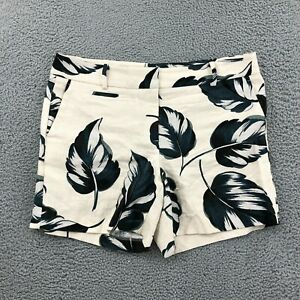 Ann Taylor Size 14 Shorts Beige Plant Print Mid Rise Mid Thigh Chino Style Women