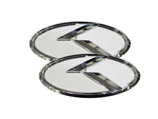 3D K Logo White Carbon & Chrome Emblem 2pc For Kia Ceed & Proceed 2011-2020