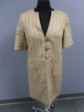 MILLY OF NEW YORK Beige Gold Metallic Button Front Lined Coat Size 4 EE5108