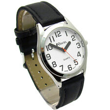 Ravel Mens Super-Clear Easy Read Quartz Watch Black Strap White Face R0125.01.1